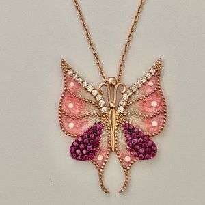 Butterfly silver white pink cz necklace